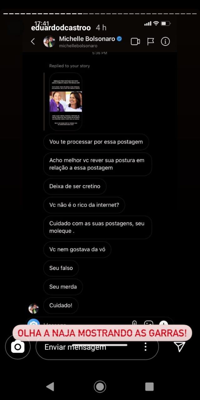 print conversa entre primo e Michelle Bolsonaro