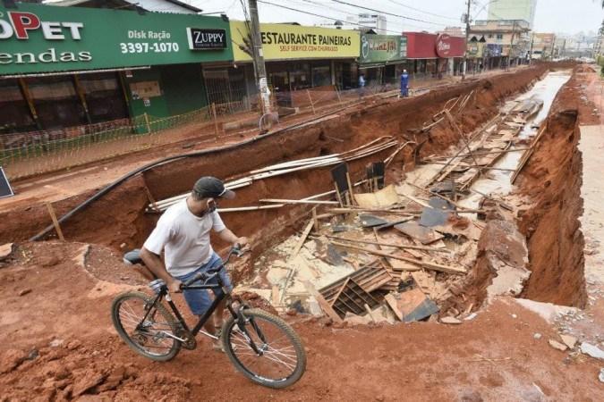 Estragos causados pela chuva de ontem no Vicente Pires
