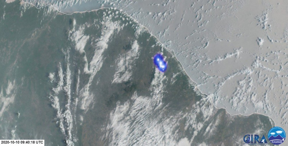 Satélite Geo Estacionário Meteorológico GOES-16 registrou o bólido que explodiu sobre a Serra do Baturité, no Ceará