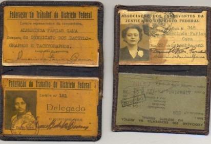 Documentos da sindicalista, advogada e jornalista, Almerinda Farias Gama, que integrou a Federação Brasileira pelo Progresso Feminino -  (crédito: Divulgação/FGV)