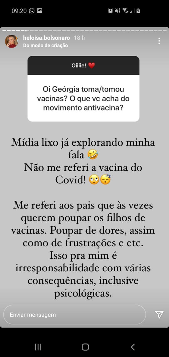 Heloísa Bolsonaro antivacina