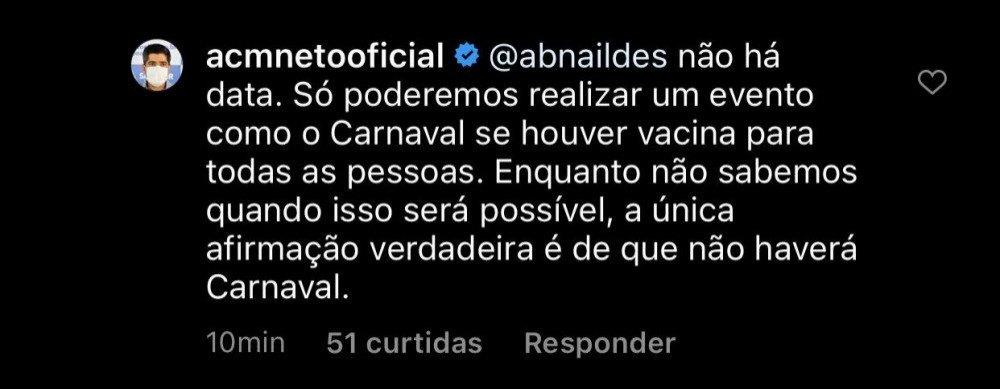 ACM Neto fala sobre o carnaval de 2021