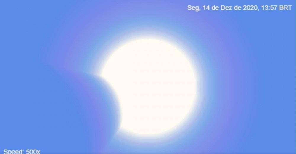 Un diagrama animado muestra un eclipse solar visto desde Brasilia