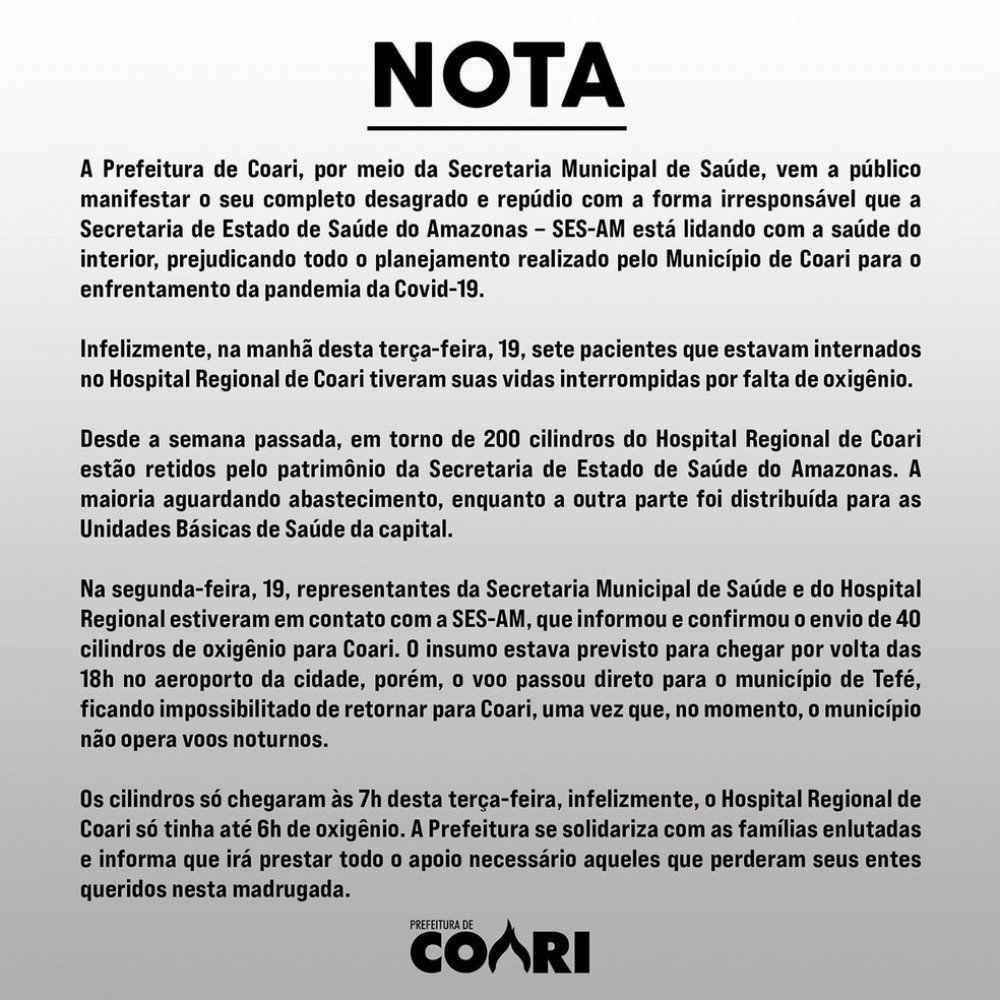 Nota divulgada pela prefeitura de Coari
