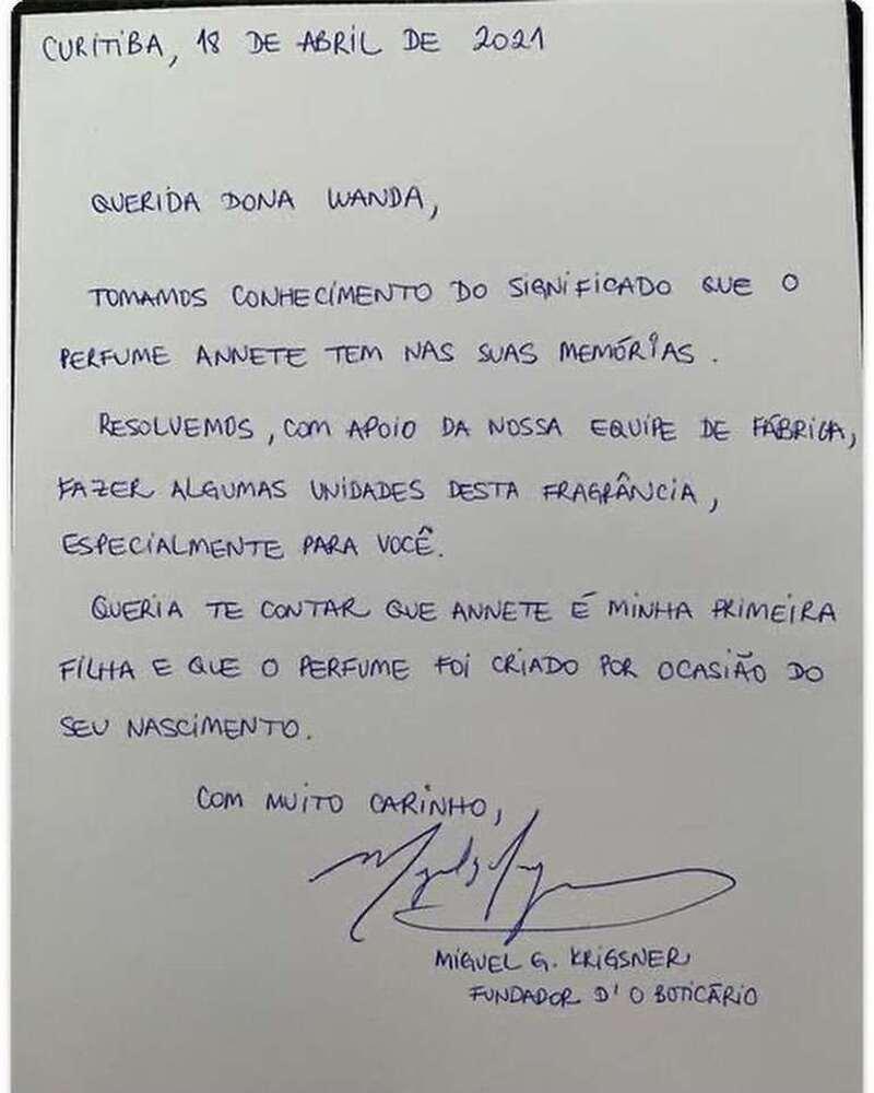 Carta do fundador da marca, Miguel Krigsner, para dona Wanda