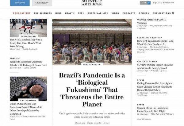 Texto do cientista brasileiro passou parte do dia como destaque do site norte-americano