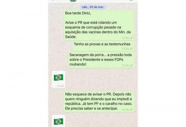 Prints de WhatsApp mostram denúncia do deputado Luís Miranda sobre compra da Covaxin