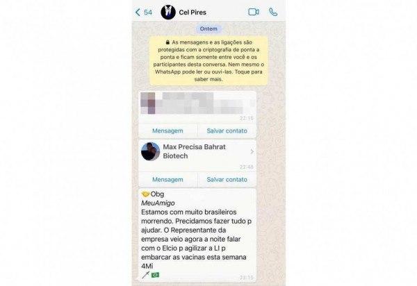 Print de WhatsApp reforça denúncia do deputado Luís Miranda sobre Covaxin