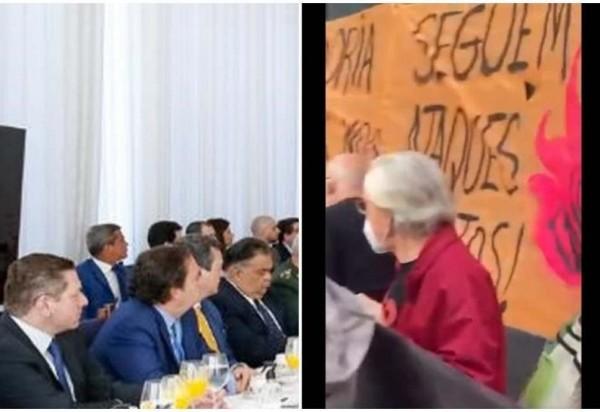 Montagem mostra ministros e militares assistindo a vídeo sobre manifestações contra Bolsonaro.