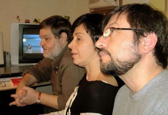Os cineastas Joel Pizzini e Paloma Rocha, ao lado do montador de 'Anabazys' Ricardo Miranda
