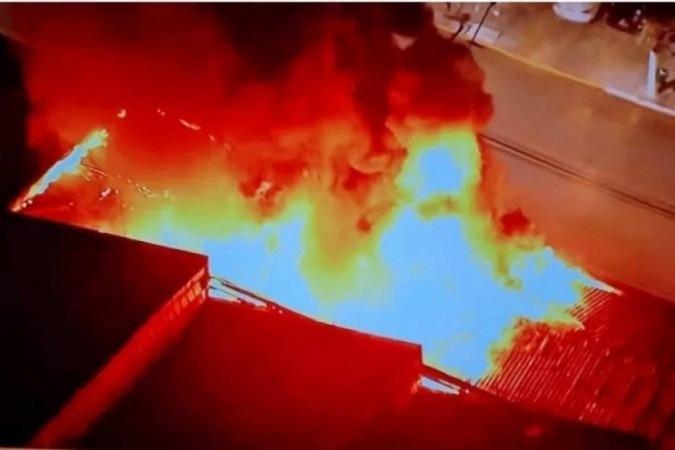 Reprodução da imagem do incêndio em dependência da Cinemateca Brasileira - (crédito: Reprodução/ Internet)