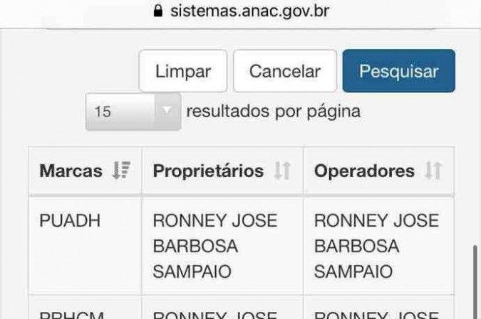 O papiloscopista Ronney José Barbosa Sampaio é apontado como dono de helicóptero que caiu no Mato Grosso