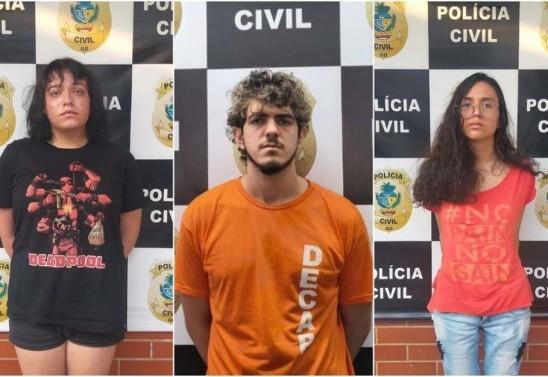 Enzo Jacomini, Jeferson Rodrigues e Raíssa Borges foram presos. Foto:PCGO/Divulgação