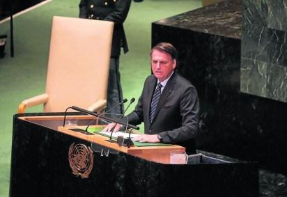 Bolsonaro na ONU em 2019. Dois anos depois, deve voltar a provocar estrangeiros sobre questões da ecologia -  (crédito: Ludovic Marin/AFP - 24/9/19)
