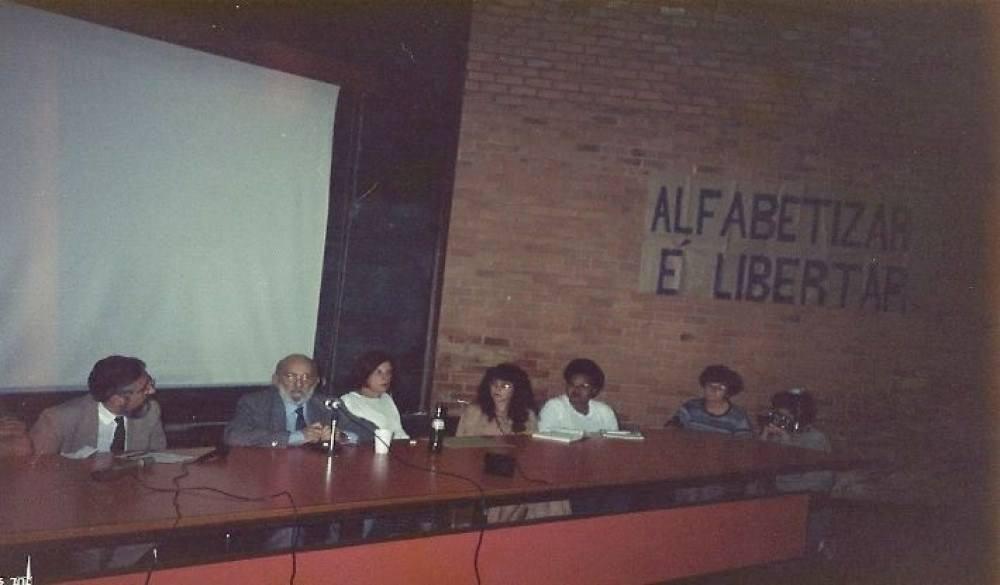 Paulo Freire em palestra na UnB em 1990