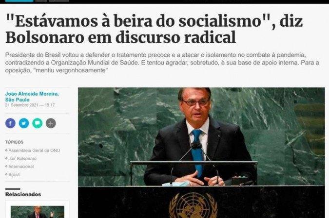 """Radical"""": imprensa estrangeira repercute discurso de Bolsonaro na ONU"""