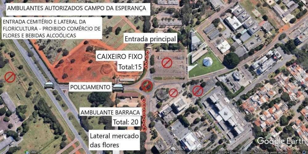 Mapa 1 - ambulantes autorizados no Campo da Esperança