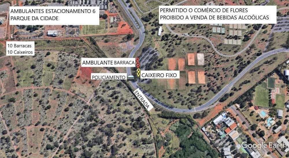 Mapa 2 - ambulantes autorizados no Parque da Cidade