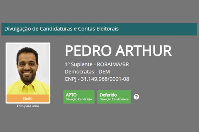 Registro de Pedro Arthur na Justiça Eleitoral - (crédito: Reprodução/TSE)