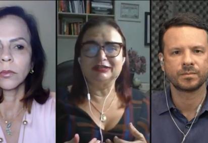 Os deputados federais Professora Dorinha, Rosa Neide e Israel Batista durante live após o segundo dia do Enem impresso -  (crédito: Frente Parlamentar Mista da Educação)