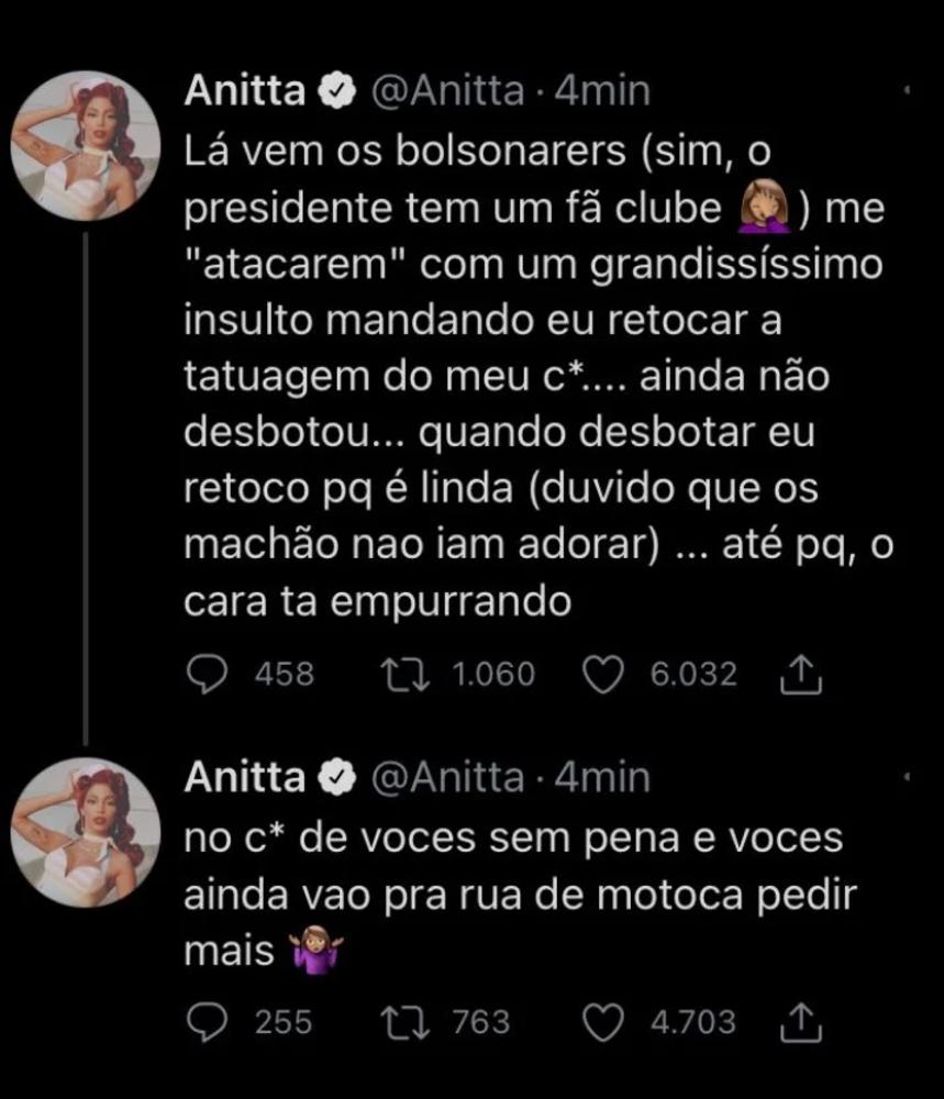 Reação de Anitta após críticas de apoiadores do presidente Jair Bolsonaro.