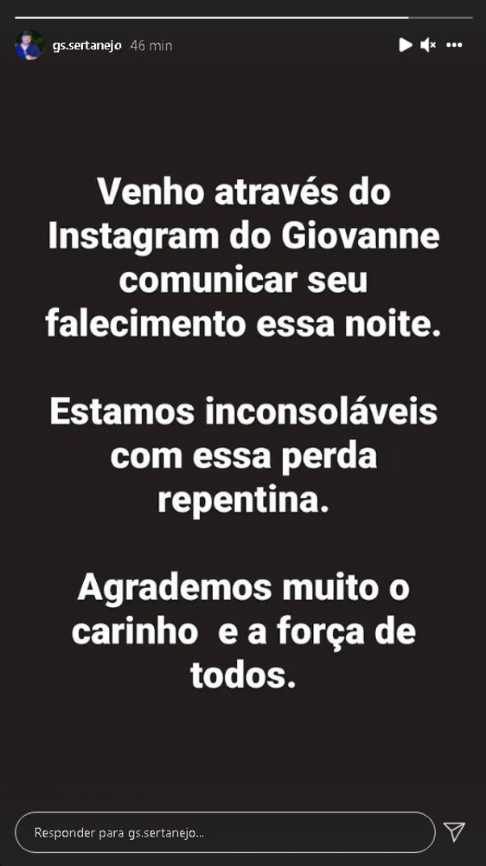 Familiares colocam mensagem no Instagram de Giovanne Salles