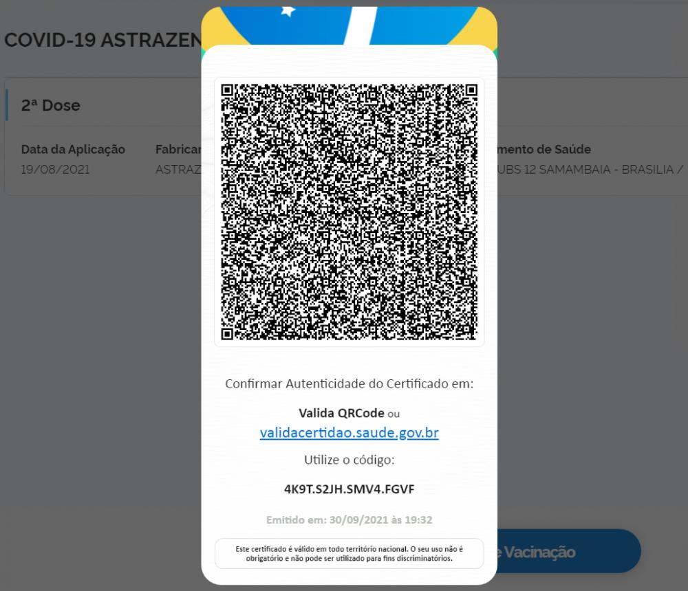 Certificado Nacional de Vacinação Covid 19 emitido pelo Conecte SUS apresenta QR Code para terceiros verificarem validade do documento
